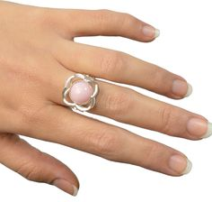 Quatrefoil Ring with Peruvian Pink Opal by Gina Pankowski