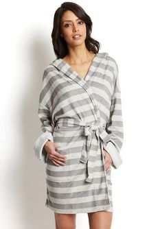 AEGEAN APPAREL - Rugby Stripe Knit Terry Robe with Hood  $29.99
