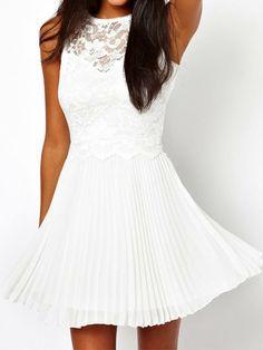 White Chiffon Skater Dress With Lace Detail
