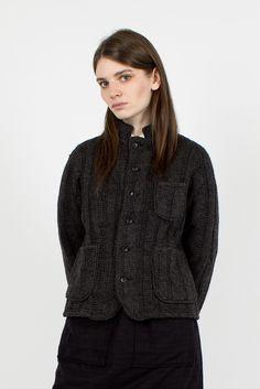 Grey Cable Knit Blazer