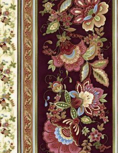 Valencia Jacobean Floral Stripe by Timeless Treasures - CM2038-Wine
