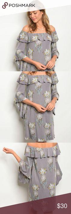 c63a773e12dd4f Dreamer off the shoulder ruffle dress Gray   lavender dress features off  the shoulder style