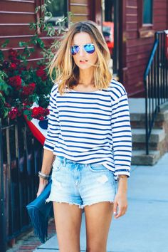 stripe shirt and cut-off shorts