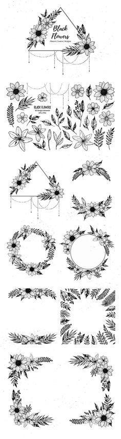 Black flowers. Part II - Illustrations 12 $ Hand drawn vector illustrations. Floral design. Collection of handsketched elements, designs and seamless paterns. Perfect for nvitations, greeting cards, quotes, tattoo, textiles, blogs, prints, posters etc. Includes: 1 EPS+21 PNG files with all elements 1 EPS+14 JPEG+14 PNG files with designs 3 EPS+3 JPEG files with seamless pattern