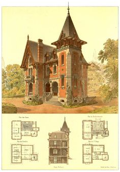 Architectural drawings of neo gothic house.