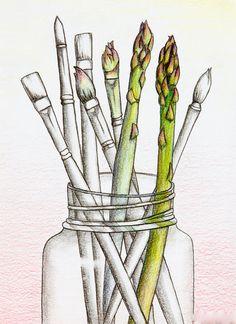 Asparagus paint brushes in jar colored pencil von KViebeckArt
