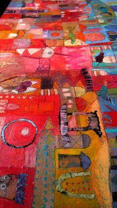 Elke Trittel acrylic collage on canvas 150/50cm