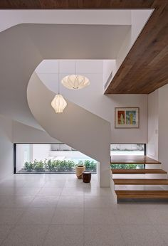interior, Swirl Like Staircase Design Pendant Lamp Ideas White Wall Glass Window Modern Interior Design Ideas Cream Flooring Design Modern And Warm Mansion Interior Design Ideas Inspiring Serenity In Australia: Stunning Modern Interior Designed Inspired by Serenity in Australia
