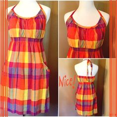 🆑 Old Navy Sundress ! ⛵️ Multi colored sundress !! Oranges, reds, blues, purples, yellow and greens! It's a rainbow of colors!! Like new!! Bodice is lined. Strap ties around the neck. Small elastic around back. 😃☀️😍 Old Navy Dresses