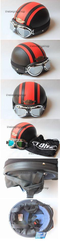 half face Red Cross Black vintage motorcycle helmet w/ goggle