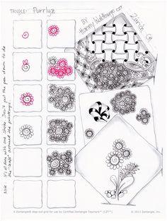 Purrlyz pattern by Zenjoy stepout zentangle Tangle Doodle, Tangle Art, Zen Doodle, Doodle Art, Zentangle Drawings, Doodles Zentangles, Doodle Drawings, Doodle Patterns, Zentangle Patterns