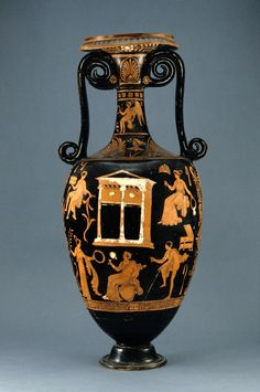 Red figure loutrophoros (ceramic), attributed to the Darius Painter. South Italian, Apulian, ca. 335-325 B.C. One of four objects to be transferred in title to the Italian government but to remain on loan to the Princeton University Art Museum.