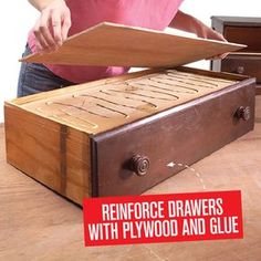 Are your drawers sagging because theyre loaded with too much junk? Overloaded drawers can cause the base to sag, making it difficult to open and close the draw Do It Yourself Furniture, Furniture Repair, Furniture Projects, Furniture Making, Furniture Makeover, Diy Furniture, Furniture Design, Automotive Furniture, Automotive Decor