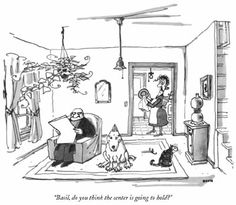 "george booth cartoons - Google Search - My dad's favorite Booth cartoon showed a couple with a bull terrier and the caption read, ""I feel idiotically happy today."""