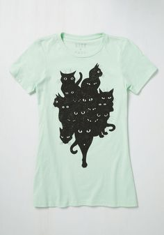 Between You, Me, and the Caterwaul T-Shirt - Other Print, Casual, Critters, Short Sleeves, Summer, Good, Crew, Mid-length, Mint, Black, Print with Animals, Cats, Green, Mint, Halloween