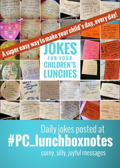 A total time saver and great parent helper - the lunchbox joke! Follow @M J | Pars Caeli every day for a new joke + doodle. Search over 100 jokes at #PC_lunchboxnotes