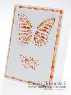 2015 STAINED GLASS BUTTERFLY Sassy Salutations Stamp set: Tangerine Tango Flowerpot DSP; Butterflies Thinlits