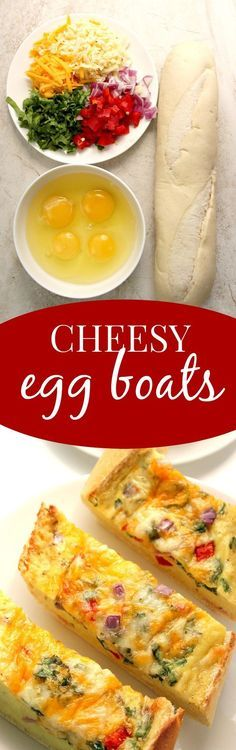 Cheesy Egg Boats recipe - I turned a baguette into a bread boat filled with eggs, cheese and veggies! Perfectly crunchy edges, cheesy filling with lots of flavor from peppers, onions and Monterey Jack cheese. Use Take & Bake baguette for that freshly bake Breakfast Dishes, Breakfast Time, Breakfast Casserole, Breakfast Recipes, Brunch Recipes, Dinner Recipes, Restaurant Recipes, Egg Boats, Cheesy Eggs