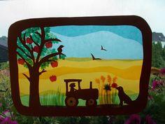 Kinderzimmerdekoration - Waldorf Transparentbild Herbst,Jahreszeitentisch - ein Designerstück von Puppenprofi bei DaWanda Suncatchers, Paper Art, Designer, Kindergarten, Lunch Box, Sewing, Toys, Projects, How To Make