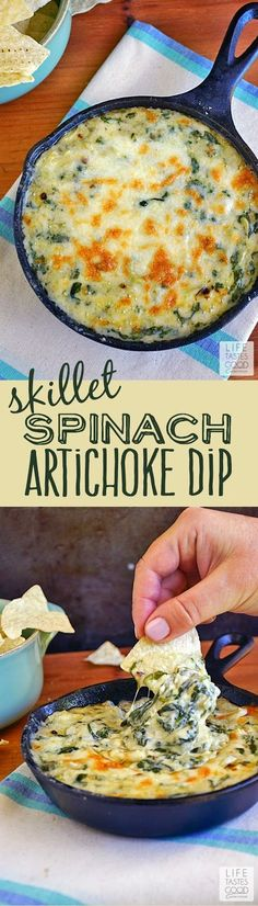 Spinach, artichokes, & a creamy, cheesy Mornay sauce make up this Spinach Artichoke Dip by Life Tastes Good. A tasty appetizer that is quick and easy to make in a skillet. #SundaySupper