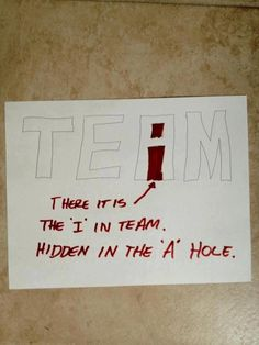 Found the i in team - LOL love it! I teach lettering and the kids always see an i in the A!!