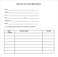 Silent Auction Donation Bid Sheet  Silent Auction Bid Sheet