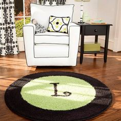 Lime green, white and black nursery