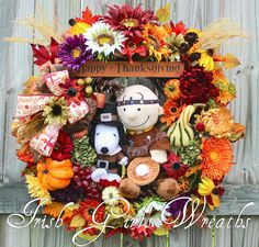Indian Charlie Brown and Pilgrim Snoopy Peanuts Thanksgiving Wreath –by Irish Girl's Wreaths