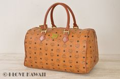 Authentic MCM Cognac Visetos / Brown Leather Travel Hand Bag 40