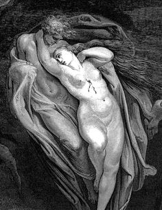 DORÉ, Gustave (1832-1883)  Paolo and Francesca, detail (illustration for The Divine Comedy, Inferno, Canto V) 1860 Engraving