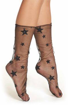 9a58b29c93f3d Main Image - Lirika Matoshi Glittery Star Tulle Socks Mesh Socks, Sheer  Socks, Sparkly