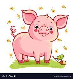 Farm animal Royalty Free Vector Image - VectorStock Kreslené Filmy, Divoká Zvířata, Kočky, Animaux, Prasátka, Dekorace, Kreativní