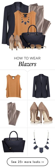 """Off to Work"" by brendariley-1 on Polyvore featuring H&M, House of Harlow 1960, Michael Kors, Jimmy Choo, Burberry and Kate Spade"