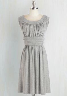 <p>You'll really feel the adoration while wearing this heather-grey dress! And why? Well, this softly ruched, jersey-knit number is not only one of the most comfortable frocks you own, it's also simply elegant and impressively versatile!</p>