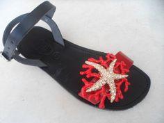 black-red starfish.handmade leather sandal by ellishoes.blogspot.com