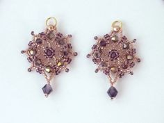 DIY Jewelry: FREE beading pattern for lovely earrings made from 11/0 glass beads, and bicone crystals (4mm and 6mm).