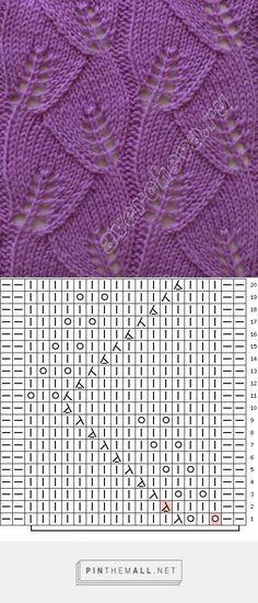 узор 114 листочки | каталог вязаных спицами узоров - created via…