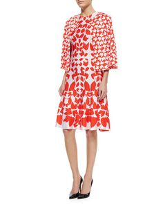 Allover Floral Jacquard Knit Jacket & Mirrored Floral Jacquard Knit Dress by St. John Collection at Neiman Marcus.