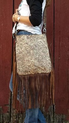 XLG Crossbody Sling, Western Floral Cream and Brown #CrossbodyBags