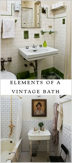 Design elements of vintage bathrooms... inspiration for our old-house DIY bathroom remodel.