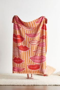 Lips & Stripes Throw Blanket  from Urban Ourfitters