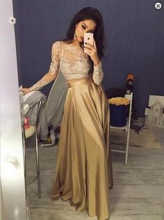 Two Pieces Prom Dresses, Long Sleeves Evening Dresses, Lace Evening Dresses, 2018 Evening Dresses Prom Dresses 2019 Prom Dresses Two Piece, Gold Prom Dresses, A Line Prom Dresses, Mermaid Dresses, Sexy Dresses, Dress Prom, Dress Formal, Bridesmaid Dress, Party Dresses