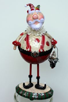 Whimsical Santa Folk Art Doll Christmas by JuneBugsByLinda on Etsy