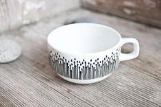 "Hand-painted vintage coffee mug ""somewhat angular"", black and white"