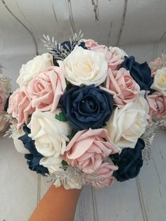 Frühlingshochzeit Vintage rustic wedding bouquet package, navy blue, blush and cream Wedding Lore Th Blue And Blush Wedding, Cream Wedding, Blush Pink Weddings, Navy Blue Wedding Theme, Navy Wedding Cakes, Navy Blue Weddings, Blue Roses Wedding, Fake Wedding Flowers, Navy Silver Wedding