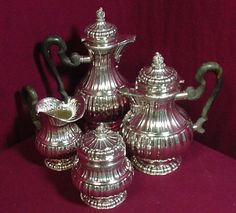 STRESA BY BUCCELLATI STERLING SILVER TEA SET POT CREAMER SUGAR COFFEE ITALY 4PC