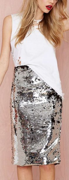 sequined skirt- love the skirt! The shirt not so much...