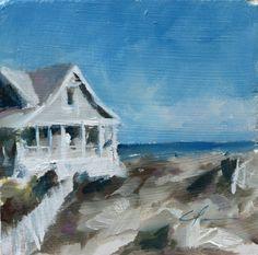 North Carolina Coastal White Beach House in Green Brown Sand Dunes Original Oil painting by Clair Hartmann