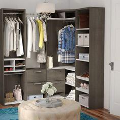 Rebrilliant Wilbur Premium Corner Walk W Closet System Finish: Bark Gray Front Closet, Closet Rod, Master Closet, Walk In Closet, Cubby Storage, Closet Storage, Closet Organization, Storage Spaces, Storage Ideas