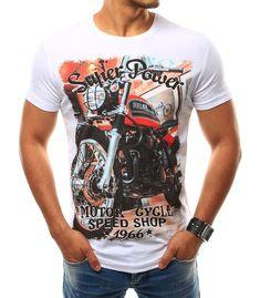 Pánske biele tričko s potlačou Super Power Motor Cycle Speed Shop - Kokain